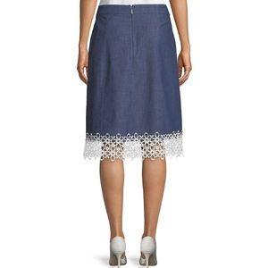 Karl Lagerfeld Paris Lace Trim Denim Skirt, 12